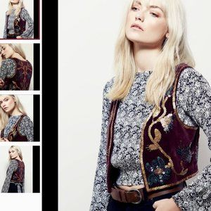 NWOT Free People burgundy/gold sequin velvet vest